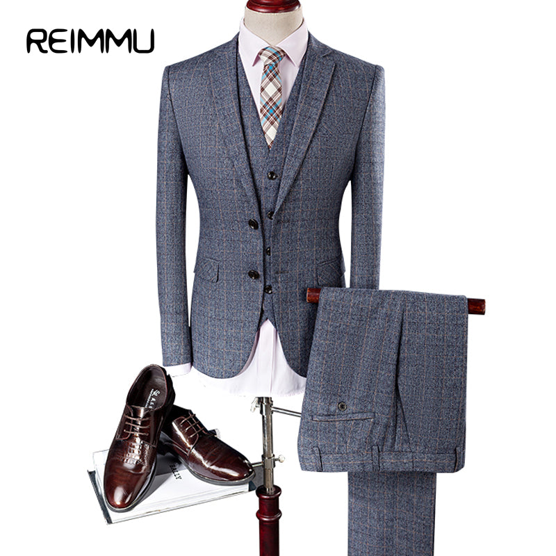Luxury Fashion Formal Business And Wedding Suits Three Piece Set For Men