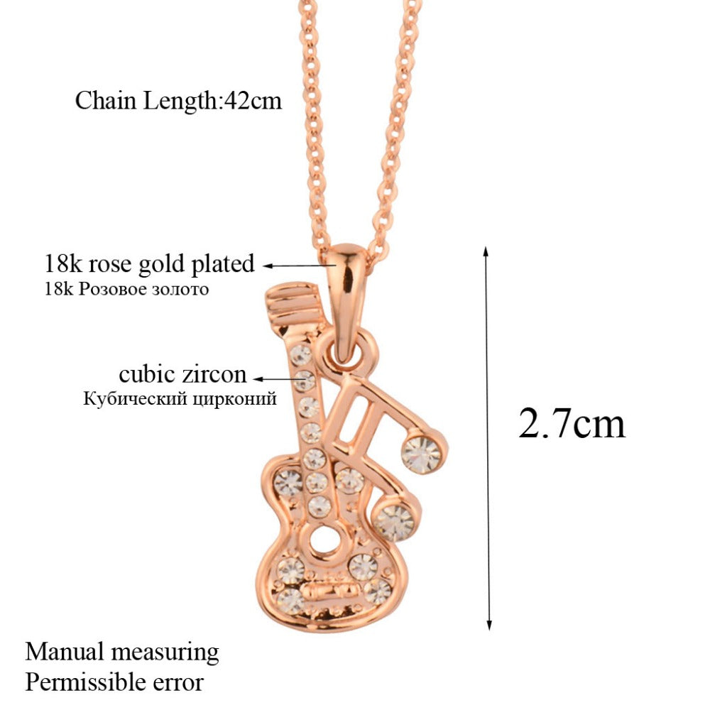 Necklace with silver and rose gold guitar pendant for gents necklace with silver and rose gold guitar pendant for gents aloadofball Choice Image