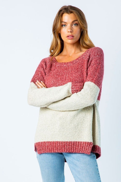 Pink Colorblock Sweater