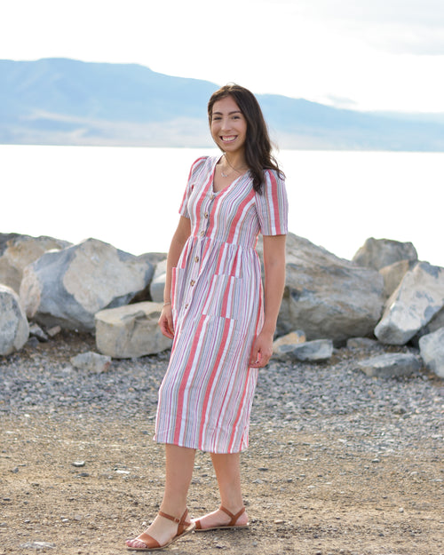LEXIE RED STRIPE MIDI DRESS