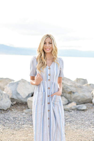 LEXIE BLUE STRIPE MIDI DRESS