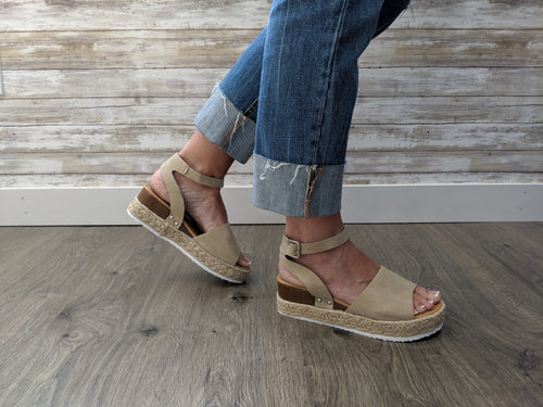 EMRY ESPADRILLE SANDALS IN TAN