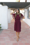 KELSEY BURGUNDY DOT DRESS