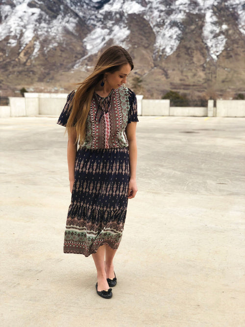 ZAHARA PATTERN MIDI DRESS