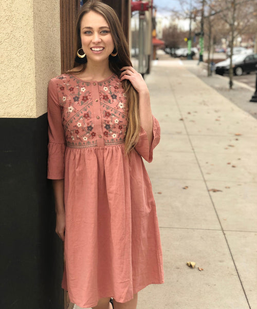 PRETTY IN PINK EMBROIDERY DRESS