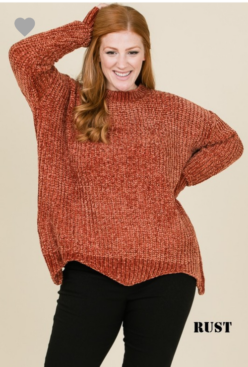 Chenille Scalloped Sweater
