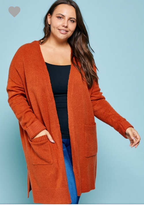 RUST CARDIGAN PLUS SIZE