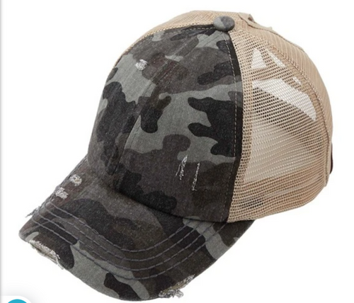 CRISSCROSS DISTRESSED BASEBALL CAP