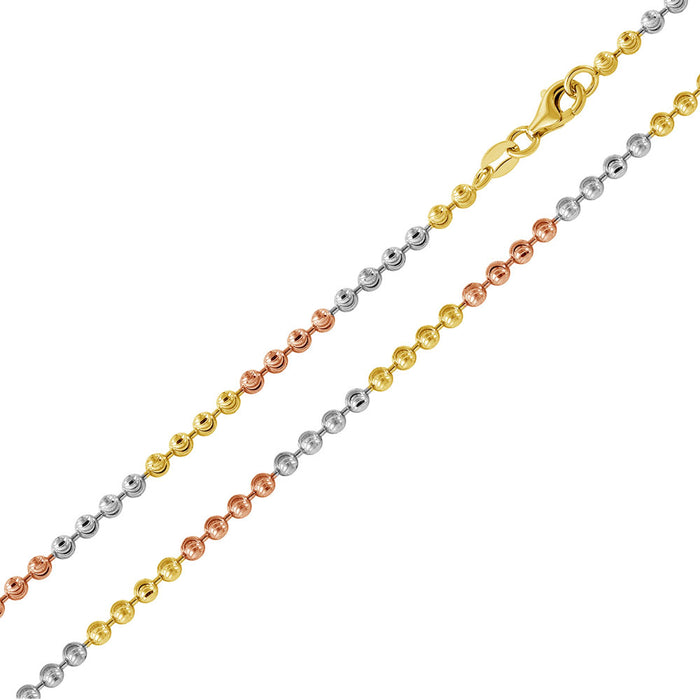 STERLING SILVER TRI-COLOR PLATED WAVE DESIGN DIAMOND CUT BEAD CHAIN