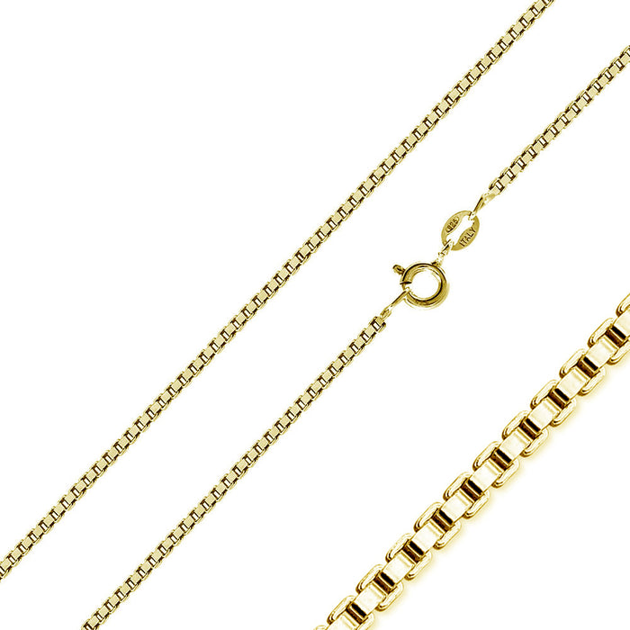STERLING SILVER GOLD PLATED BOX CHAIN