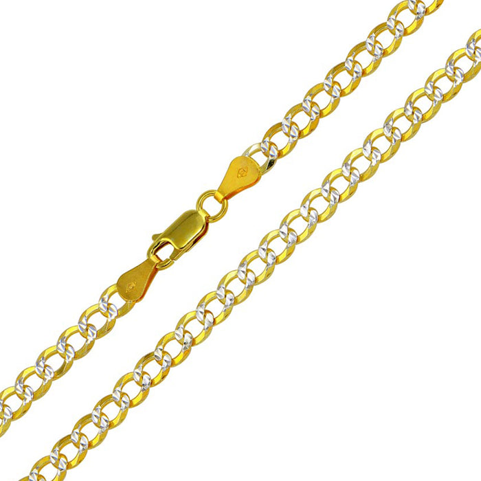 STERLING SILVER 925 GOLD PLATED 2 TONED DC CUBAN CHAIN