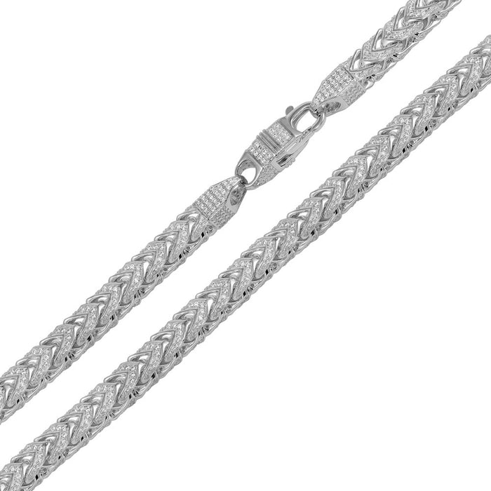 STERLING SILVER CZ ENCRUSTED FRANCO CHAIN