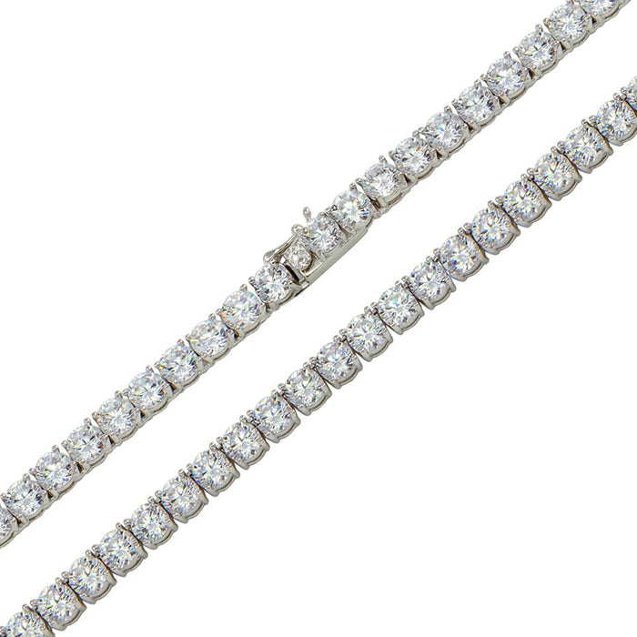 STERLING SILVER RHODIUM PLATED ROUND CZ LINK CHAIN