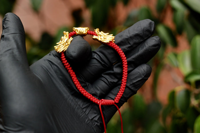 DOUBLE DRAGON HEADS AND CHINESE INGOT WITH RED STRING BRACELET