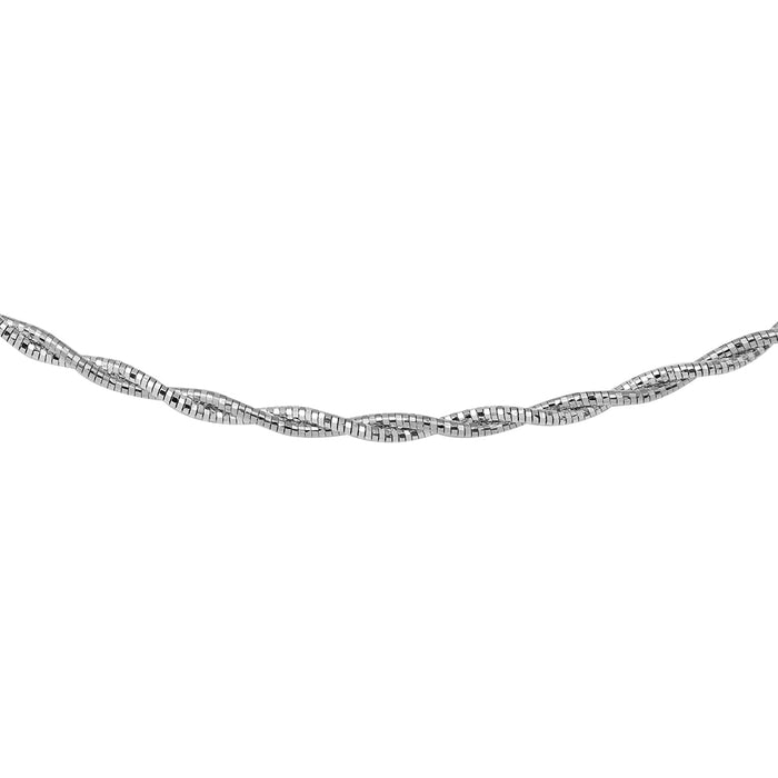 STERLING SILVER 2 TONED 2 LAYER OMEGA SPRING CHAIN
