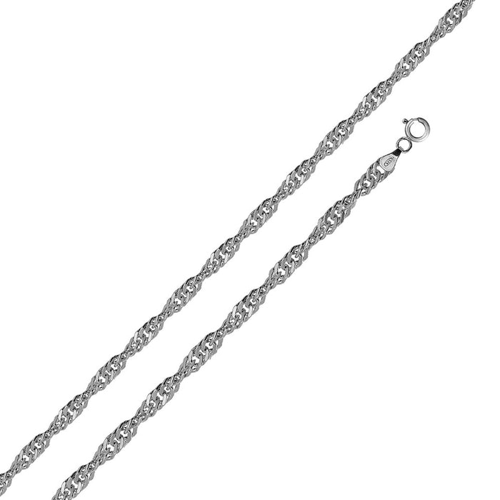 STERLING SILVER HIGH POLISHED SINGAPORE CHAINS