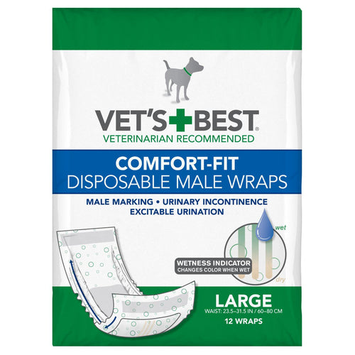 Comfort-Fit Disposable Male Dog Wrap 12 pack