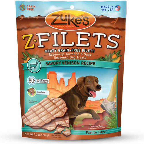 Z-Filets Select Grain Free Dog Treat Grilled Venison 3.25 oz.