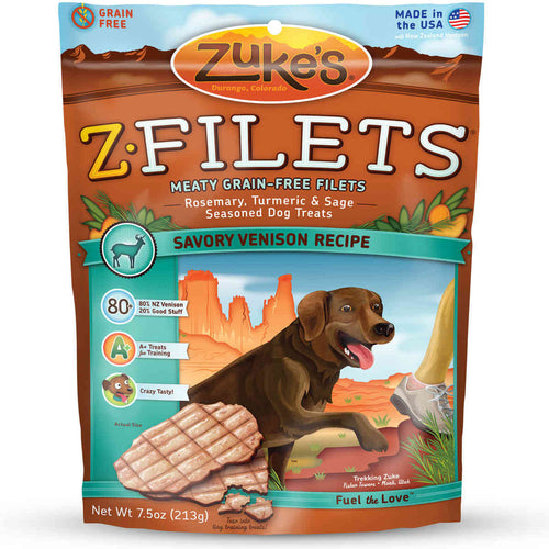 Z-Filets Select Grain Free Dog Treat Grilled Venison 7.5 oz.
