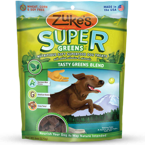 Supers All Natural Nutritious Soft Superfood Dog Treats Tasty Greens 6 oz.