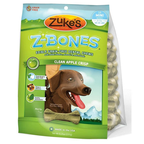 Z-Bones Grain Free Edible Dental Chews Clean Apple Crisp 18 count