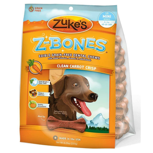Z-Bones Grain Free Edible Dental Chews Clean Carrot Crisp 18 count