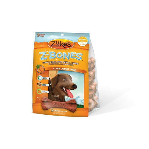 Z-Bones Grain Free Edible Dental Chews Clean Carrot Crisp 8 count