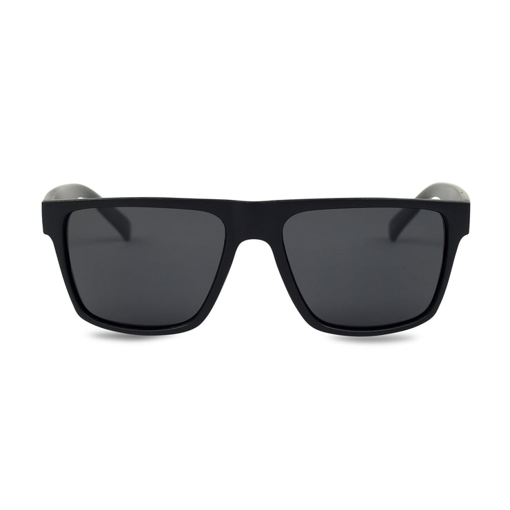 Men's Black Wayfarer Inspired Acetate Sunglasses | Front View | Billboard