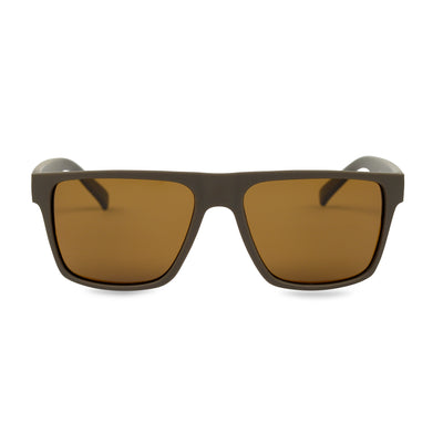 Men's Brown Wayfarer Inspired Acetate Sunglasses | Main View | Billboard
