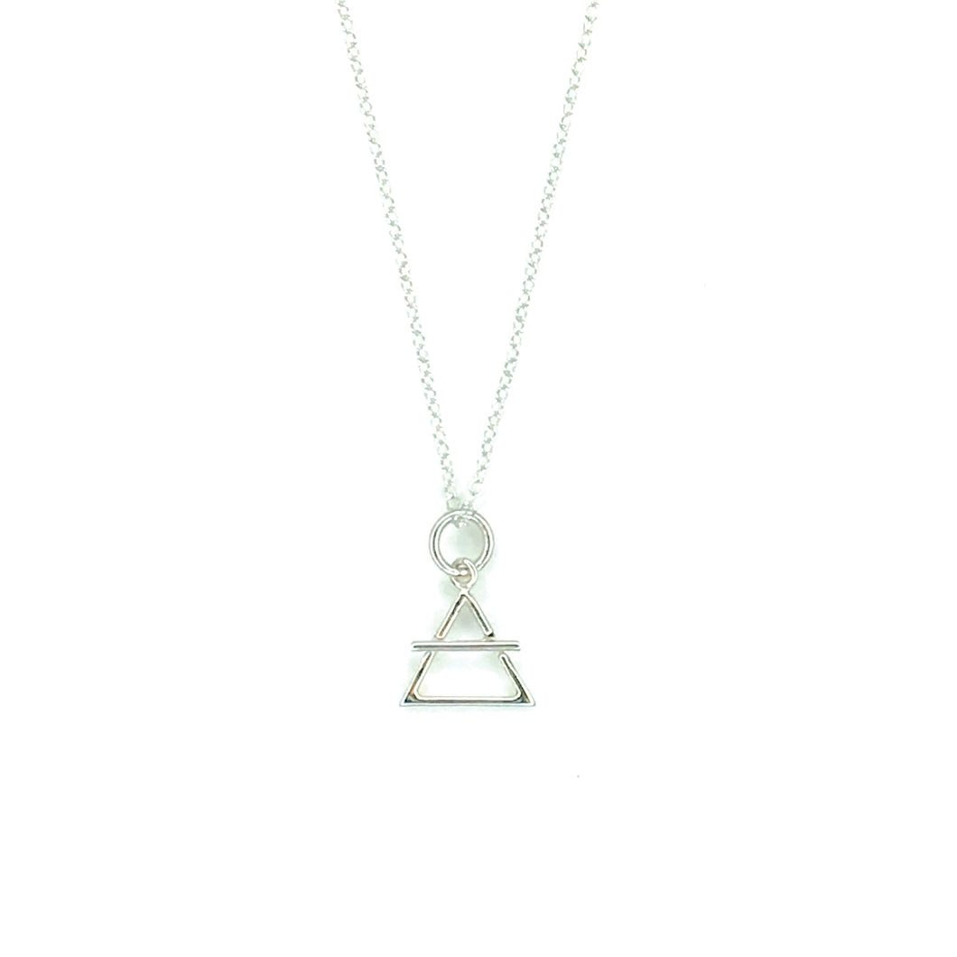 Your Vibe Attracts Your Tribe - Sterling Silver Triangle Necklace