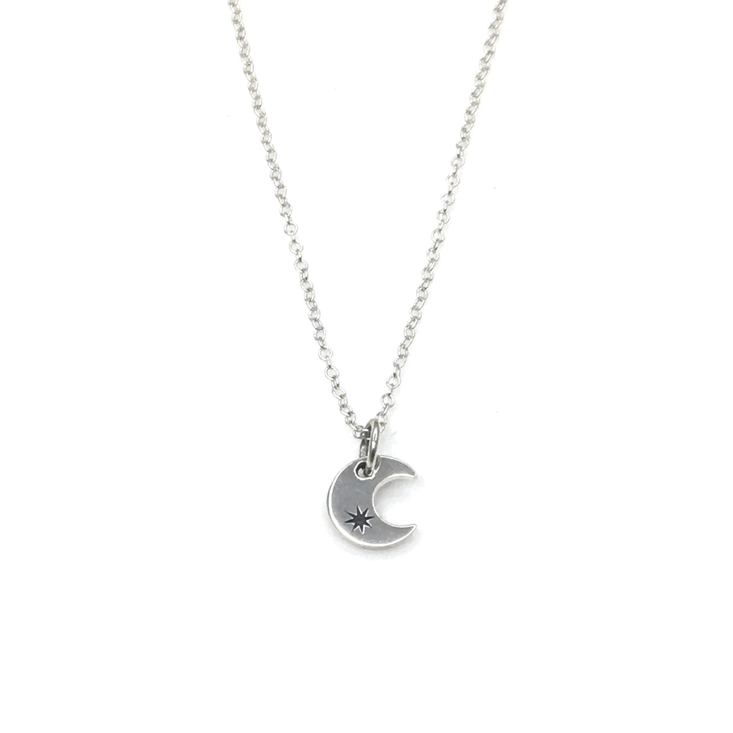 Never Stop Looking Up - Sterling Silver Moon necklace