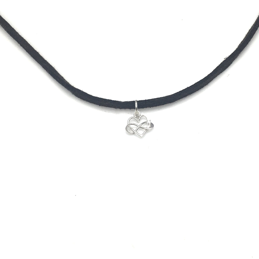 Strong Women - Suede Infinity Heart Choker Wrap