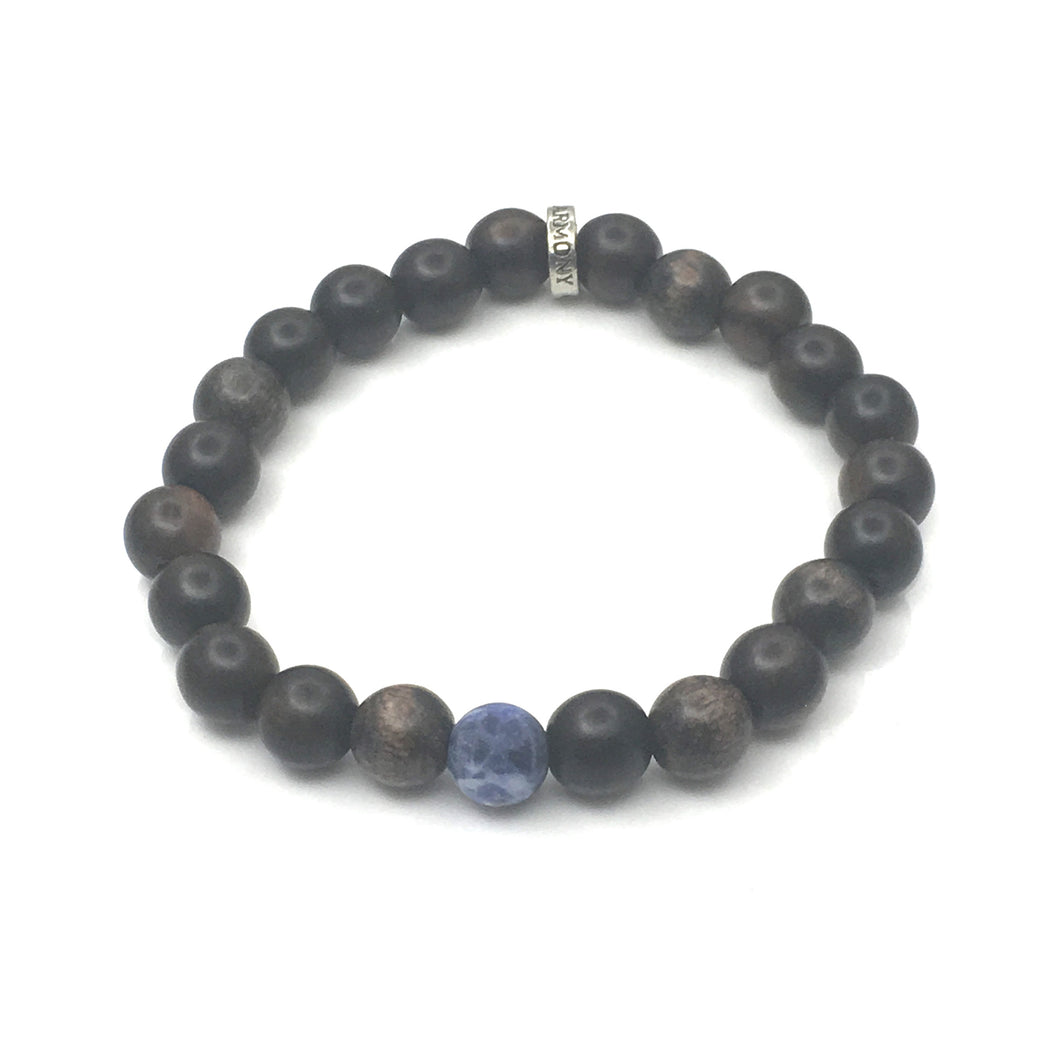 Share a Bit of Honor - Men's Wood & Matte Sodalite Bracelet