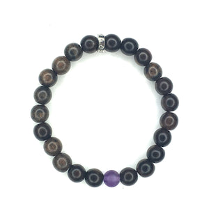 Share a Ray of Hope - Men's Wood & Matte Amethyst Bracelet