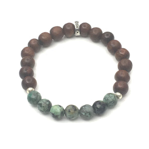 Share a bit of Positivity - African Turquoise &Wood Bracelet