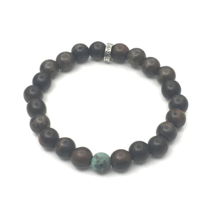 Share a Bit of Positivity - Men's Wood & Matte African Turquoise Bracelet