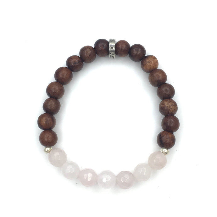 Share a bit of Strength - Rose Quartz & Wood Bracelet