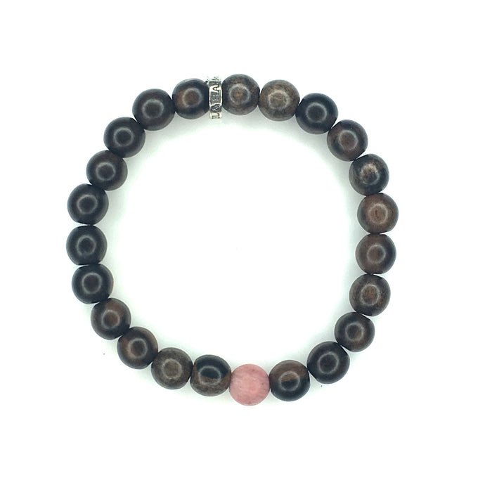 Share a bit of Strength - Men's Wood & Matte Rhodonite Bracelet