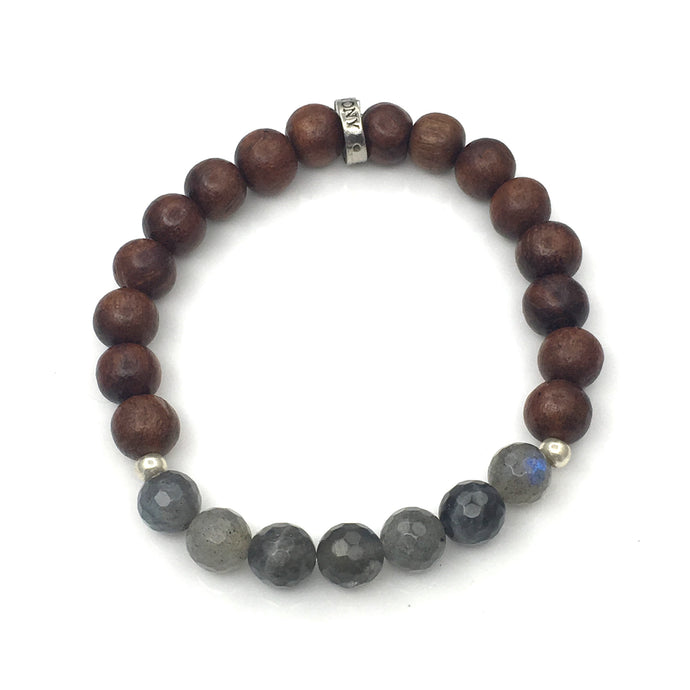 Share a bit of Kindness - Labradorite & Wood Bracelet