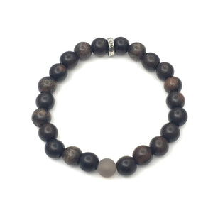 Share a bit of Kindness - Men's Wood & Matte Grey Onyx Bracelet
