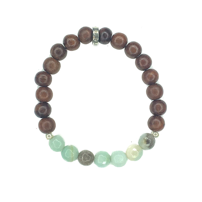 Share a bit of Calm - Amazonite & Wood Bracelet