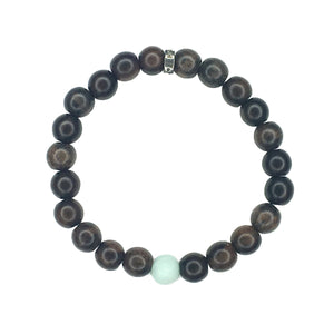 Share a bit of Calm - Men's Wood & Matte Amazonite Bracelet