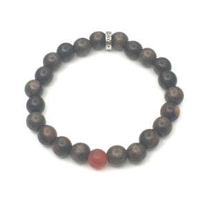 Share a Bit of Happiness - Men's Wood & Matte Carnelian Bracelet