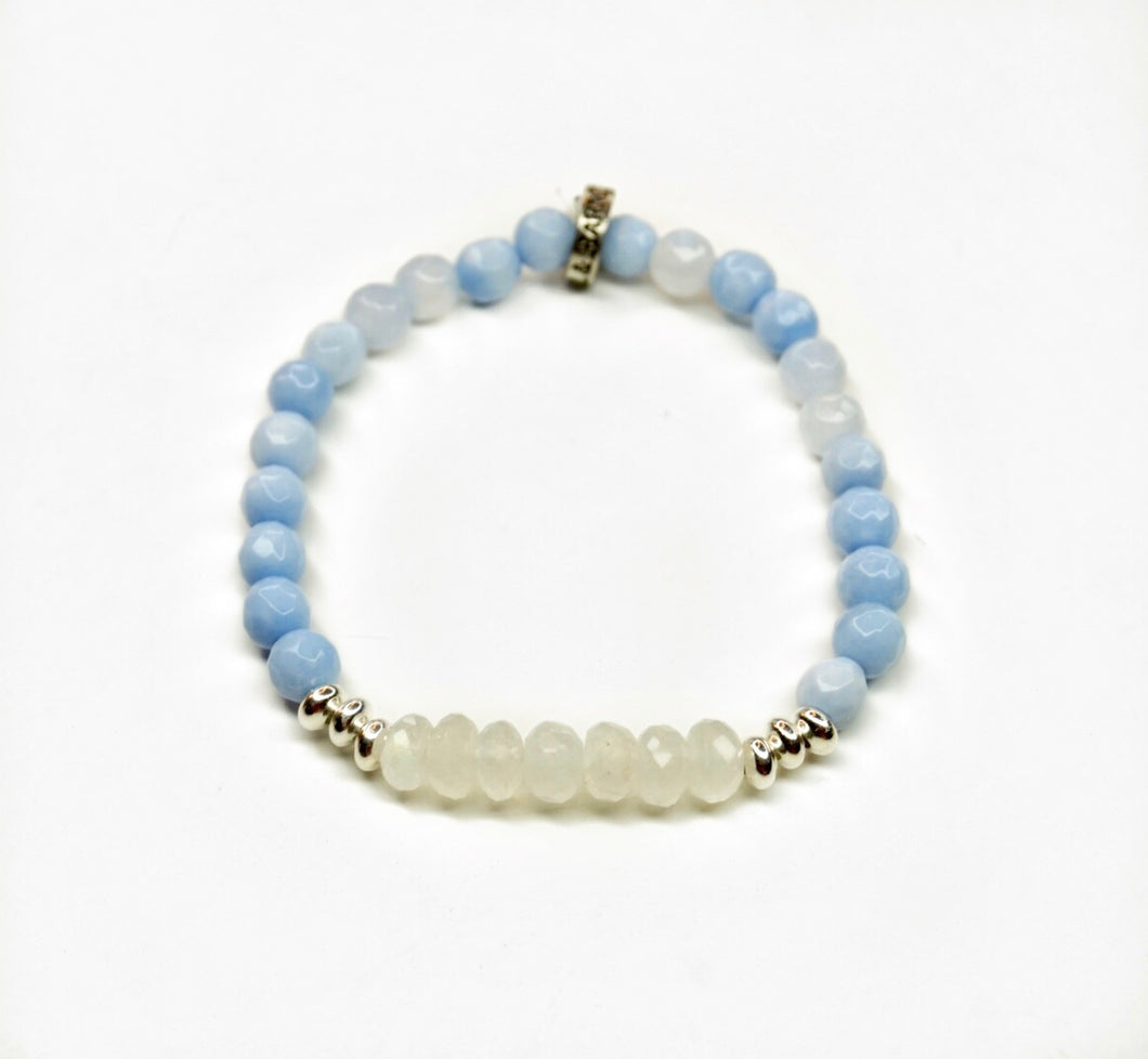 Moonstone Glimmer Bracelet with Blue Lace Agate