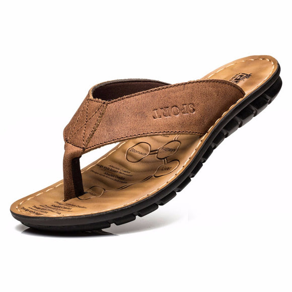2017 Cow Leather Men Beach Slippers Fashion Flip Flops With Soft Sole Trendy Breathable Easy To Match Men Summer Shoes 6731