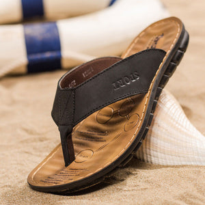 Leather Men's Beach Flip Flops With Soft Sole Bottoms