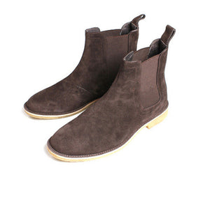 Micholediys Classical Vintage Chelsea Boots Handmade All-matching Kanye West Boots Crepe Bottom Casual Platform High Mens Shoes