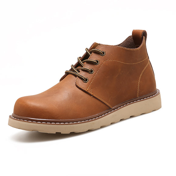 Mens Leather Waterproof Tooling Chukka Boots