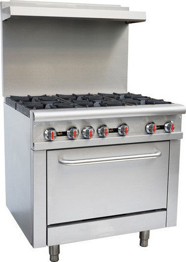 "Canco 36"" Commercial Natural Gas 6 Burner Stove Top Range RGR36"