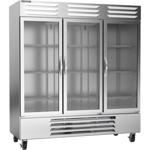 "Beverage Air Vista Series RB72HC-1G Triple Glass Door 75"" Wide Stainless Steel Refrigerator"